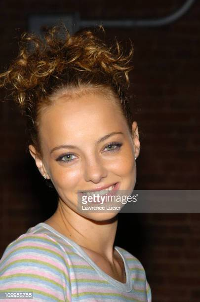 Bijou Phillips during Olympus Fashion Week Spring 2005 Lacoste Front Row at The Waterfront in New York City New York United States