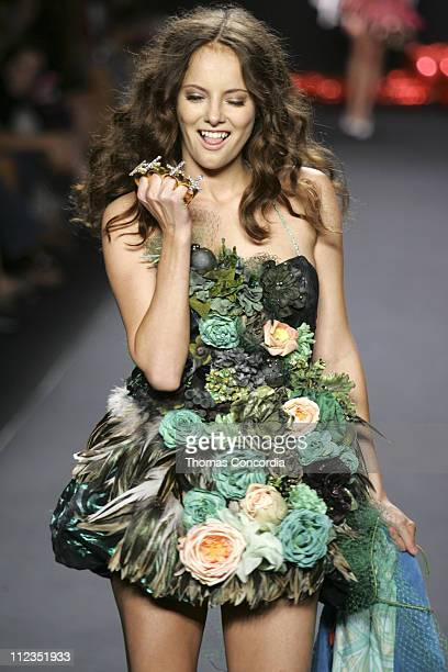 Bijou Phillips wearing Heatherette Spring 2006 during Olympus Fashion Week Spring 2006 Heatherette Runway at Bryant Park in New York City New York...