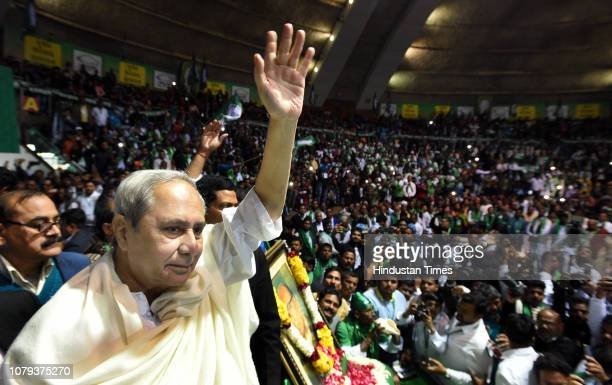 Biju Janata Dal President and Odisha Chief Minister Naveen Patnaik waves during the sitin protest to demand an increase in the minimum support price...