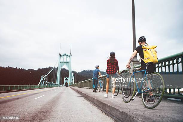 Bike Commuters Crossing Bridge in Portland