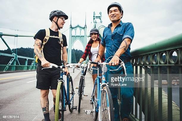 Vélo tous les voyageurs à Portland dans l'Oregon, le Pont de Saint-Jean de Terre-Neuve