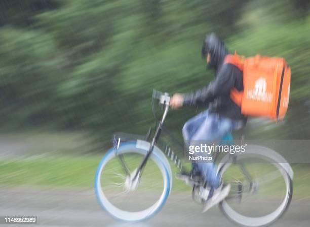 Bike courier of Lieferando on June 10 in Munich Germany