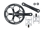 Bike crankset chainring and pedals set