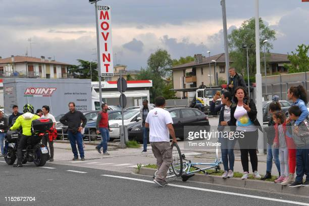 Bike dropped by a spectator in front of the breakaway riders at km 161 / Fans / Public / during the 102nd Giro d'Italia 2019 Stage 18 a 222km stage...