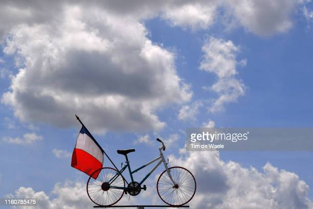 Bike / French Flag / Fans / Public / Detail view / during the 106th Tour de France 2019, Stage 3 a 215km stage from Binche to Épernay 129m / TDF /...