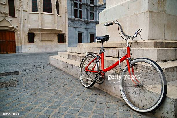 bike in old square - grenoble stock pictures, royalty-free photos & images