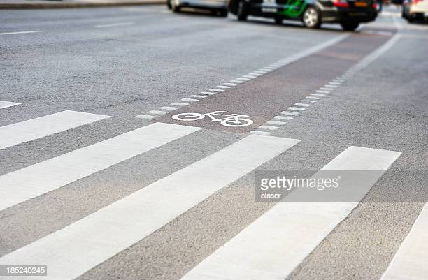 Bike lane and zebra crossing in traffic