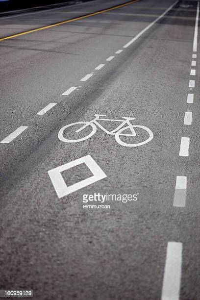 bike lane in vancouver, bc, canada - bicycle lane stock pictures, royalty-free photos & images