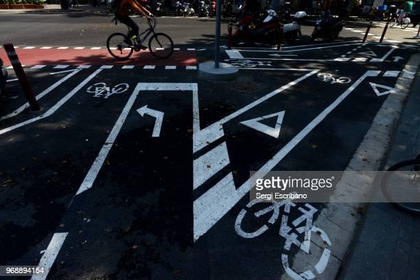bike lane lines on the asphalt - avenida fotografías e imágenes de stock