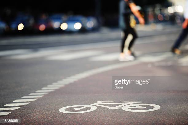 Bike lane symbol and zebra crossing in traffic