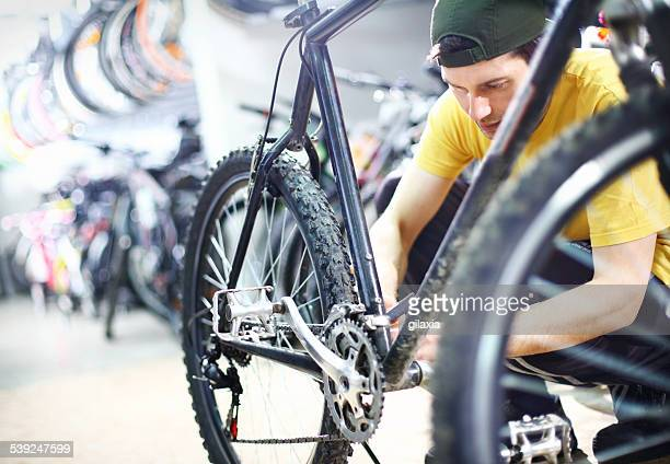 Bike mechanic at work.