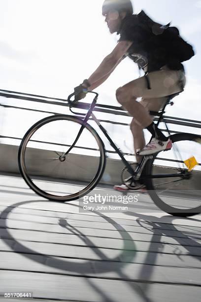 Bike messenger on the move