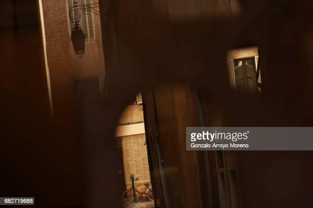 A bike parked on the street is reflected on a mirror the day before of the Ironman 703 Pays d'Aix on May 13 2017 in AixenProvence France