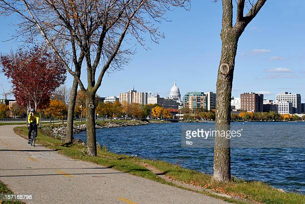 bike path - madison wisconsin stock pictures, royalty-free photos & images