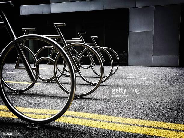 Bike rack shaped like bicycles