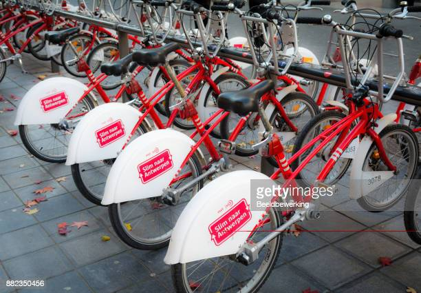 Bike rental system in Antwerp Belgium Europe