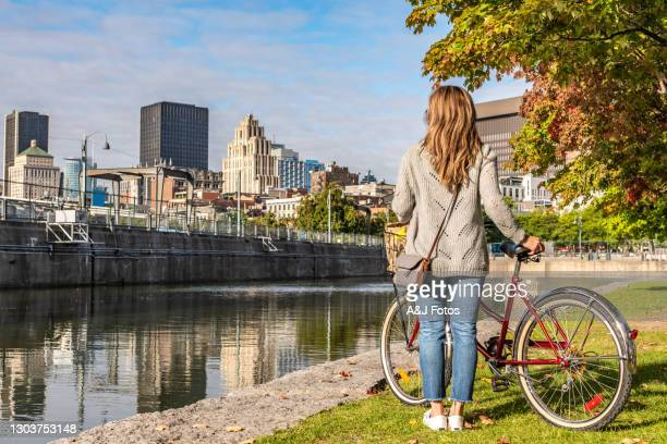 bike ride in montreal. - montreal stock pictures, royalty-free photos & images