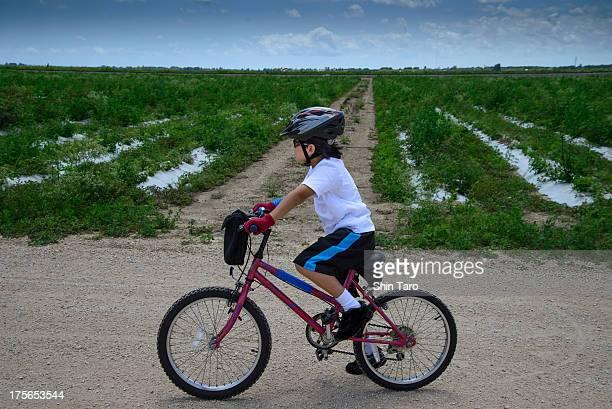 Bike ride on a farm road