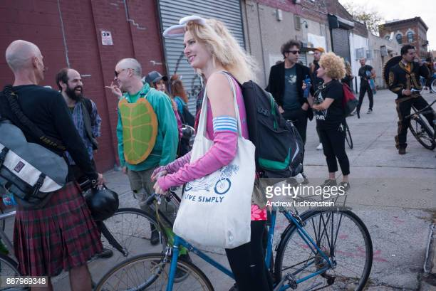 Bike riders hoping to participate in the annual Bike Kill party are blocked by police from entering on October 28 2017 in Bushwick Brooklyn The...