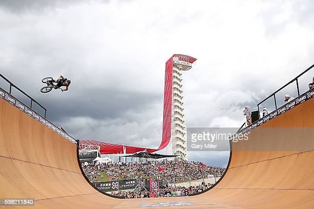 BMX bike riders practice on the vert ramp during the X Games at Circuit of The Americas on June 3 2016 in Austin Texas