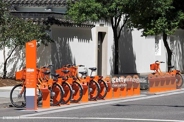 Bike Share Biketown Station Orange Bikes Downtown Portland Oregon