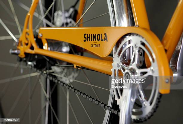 A bike sits on display at the Shinola production facility in Detroit Michigan US on Wednesday May 15 2013 Shinola owned by Bedrock Manufacturing and...