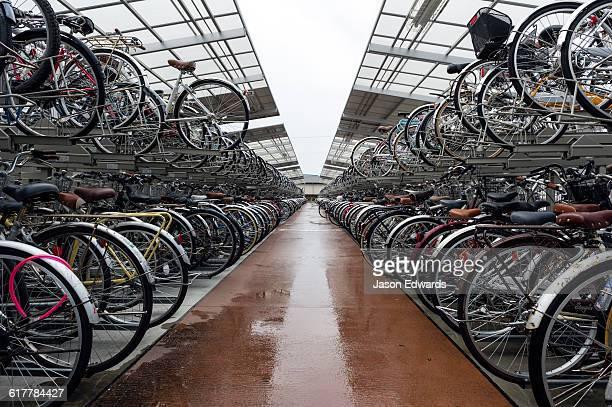 A bike storage system at a Japanese railways station.