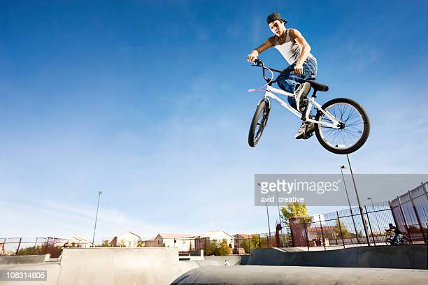 bmx bike stunt-tail whip - bmx cycling stock pictures, royalty-free photos & images