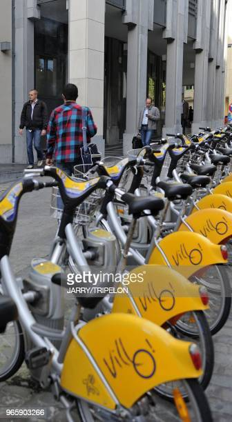 Bike to rent Villo on Montagne aux Herbes street district centre called the Pentagon city of Brussels BrusselsCapital Region Belgium