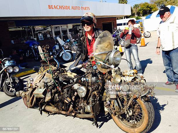 Bike Week in Daytona Beach FL attracts an array of free spirits including this rider and his rat bike