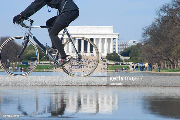 biker and lincoln memorial in reflection - reflecting pool stock pictures, royalty-free photos & images