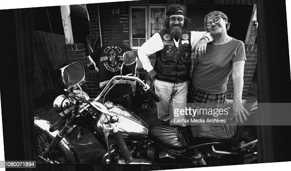 "Biker ""Animal"" with Lori Short outside Animal's tempe home ..."