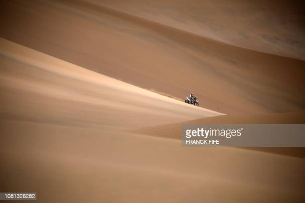 Biker competes during Dakar Rally Stage 5 between Tacna and Arequipa in Peru, on January 11, 2019.