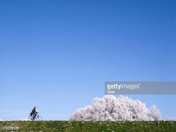Biker in wintertime