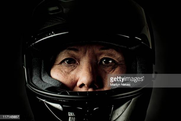 biker mama - crash helmet stock pictures, royalty-free photos & images