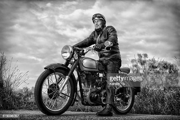 biker on vintage motorcycle