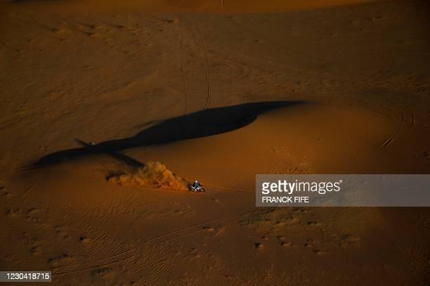 Biker rides during Stage 2 of the Dakar Rally 2021 between Bisha and Wadi Ad-Dawasir in Saudi Arabia, on January 4, 2021.
