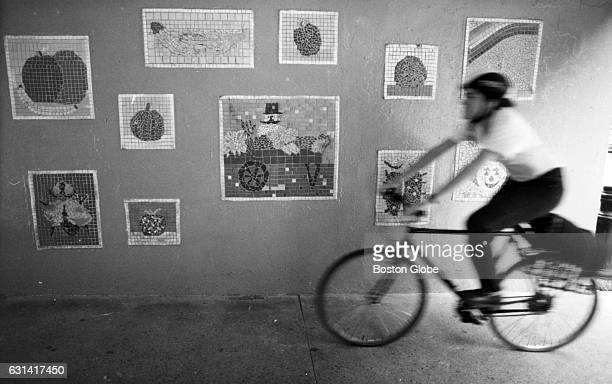 A biker rides past the newly painted wall of the walkway beneath the expressway near the South Artery in Boston's North End on April 6 1994