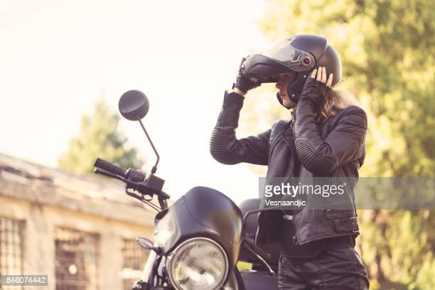 biker woman - motorbike stock photos and pictures