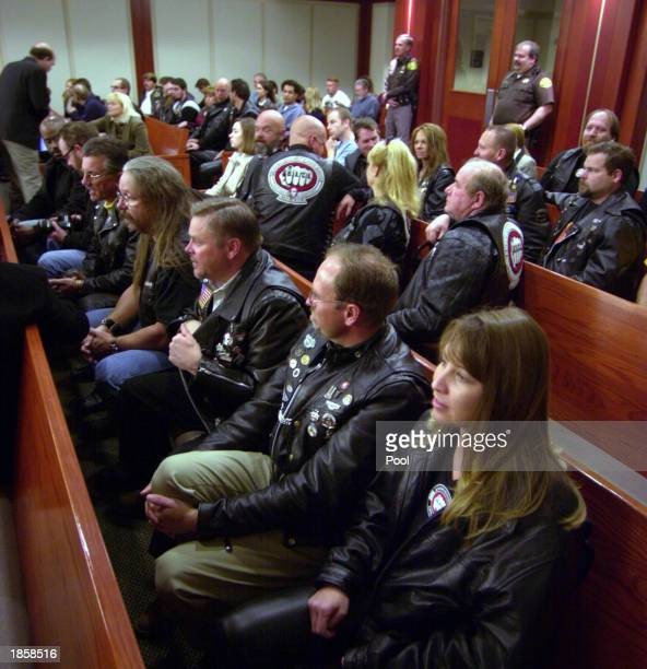 Bikers Against Child Abuse sit in the courtroom for the first court appearance for Brian David Mitchell and Wanda Barzee, suspects in the Elizabeth...