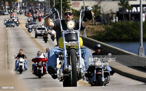 Bikers cross the Main Street Bridge during Bike Week March 3 2006 in Daytona Beach Florida More than 500000 people are expected to attend the 65th...