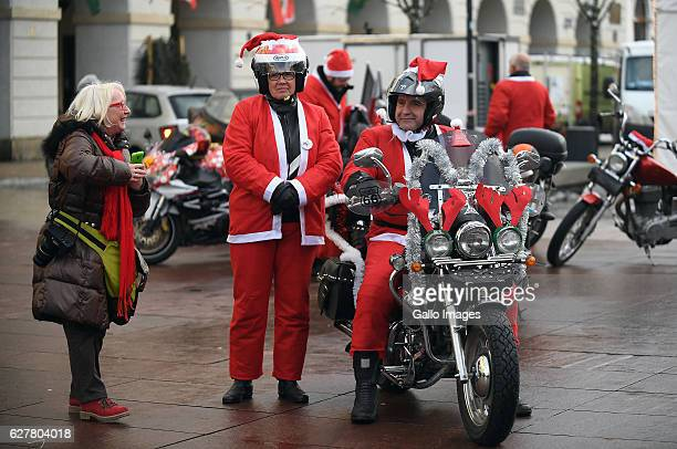 Bikers dressed as Santa Clause participate in Moto Mikolajki 2016 on December 03 2016 in Warsaw Poland During the action cyclists dressed as Santa...