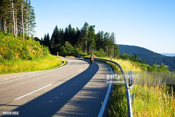 Bikers driving on B 500 in Black Forest