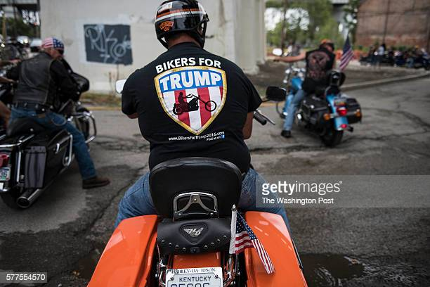 Bikers for Trump had a ride that ended at a proTrump rally at Settler's Landing near downtown Cleveland on July 18 2016