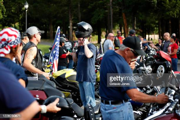 Bikers for Trump prepare to ride during the RNC 2020 Trump Biker Rally Back the Blue Parade held at Park Road Park on August 27 2020 in Charlotte...