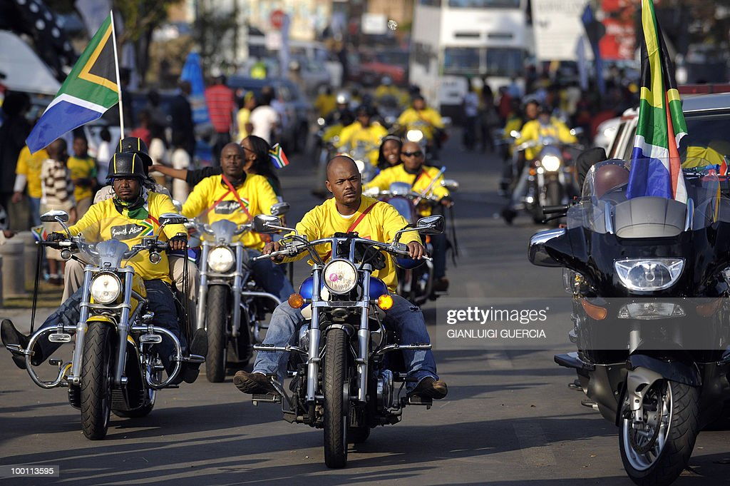 Bikers from Soweto parade on May 21, 2010 during the official celebration marking 20 days ahead of the FIFA WC2010 kick off at Vilakazi street in Soweto, South Africa. South Africa will host the FIFA World Cup from the 11 of June to the 11 of July, 2010.