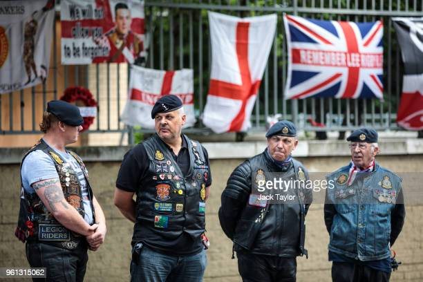 Bikers gather to pay their respects at the site of the murder of Fusilier Lee Rigby on the fifth anniversary of his death on May 22, 2018 in London,...