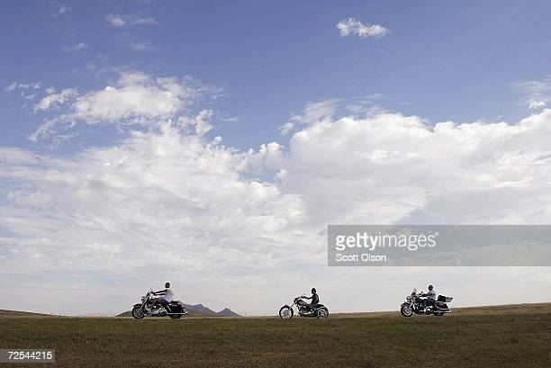 Bikers head toward Sturgis South Dakota on August 7 2003 for day four of the annual Sturgis Motorcycle Rally The weeklong rally attracts an estimated...
