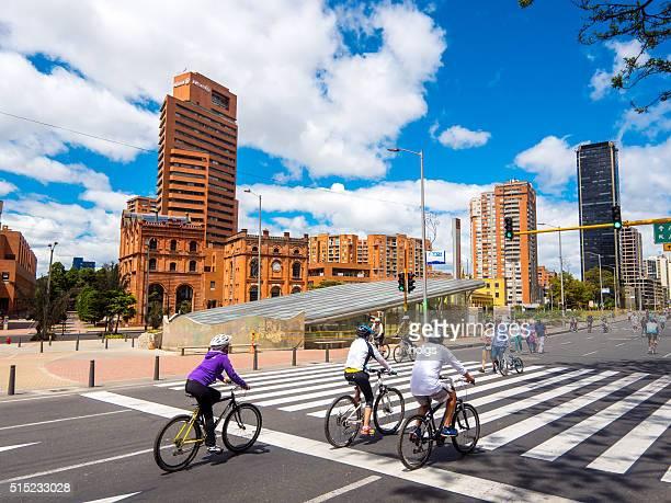 Radfahrer in Bogota, Kolumbien