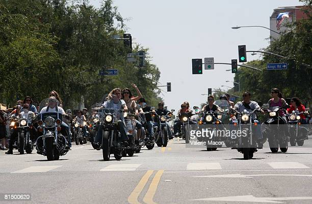 Bikers open the Gay Pride Parade on Santa Monica Boulvard on June 8 2008 in West Hollywood California